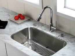 Sink  Black Granite Countertop Brown Tile Backsplash French - Kitchen faucet ideas