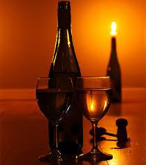 romantic lighting. romantic mood with wine on table lighting
