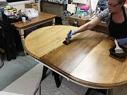how to refinish a dining table without
