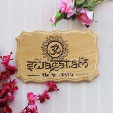 Swagatam Auspicious House Entrance Sign Wooden Welcome Signs