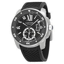 cartier watches jomashop cartier calibre de black dial rubber men s watch