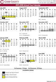 School Calendar Template 2015 2020 Cobb County School Calendar 2017 2018 Marietta Com