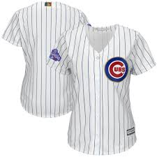 Women's Chicago Cubs Majestic Fashion White/Gold 2017 Gold Program Cool  Base Replica Team Jersey