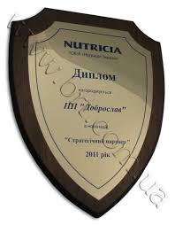 Почетный диплом наградной сертификат в виде щита печать на  диплом оригинальной формы в виде щита для компании nutricia печать на металле деревянная подложка