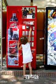 Vending Machine Girl Gorgeous Little Girl With Drinks Vending Machine Stock Photo Picture And