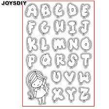 BUBBLE ALPHABET CUTE GIRL scraspbook diy photo cards account rubber stamp clear stamp transparent stamp Handmade