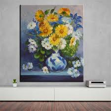 blue and yellow canvas wall art