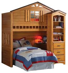 rustic oak tree house twin bunk loft bed with desk with shelf cabinet