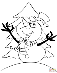 Small Picture Cartoon Snowman coloring page Free Printable Coloring Pages