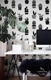 Geometrische Cactussen Patroon Eenvoudige Zwart Wit Behang Zelf Klevende Verwisselbare Herbruikbare 68