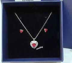 details about swarovski one set pendant earrings red heart rhs crystal authentic mib 5470602