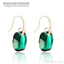2018 gold plated made with swarovski elements neoglory crystals long chandelier drop earrings for women 2017 new indian style green jewelry brand from
