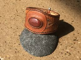 work make your own stone inlayed leather bracelet