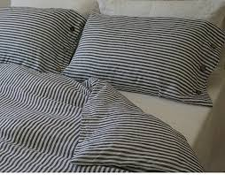 navy and white stripe duvet cover with wood on closure natural linen duvet cover