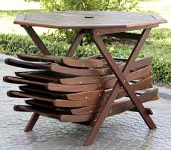 image of folding wooden patio table and chairs