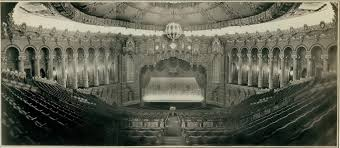 black and white photo of view from fox theatre balcony