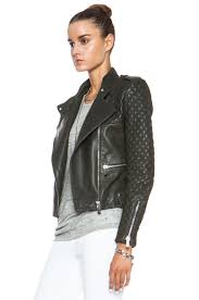 image 3 of barbara bui quilted leather jacket in green