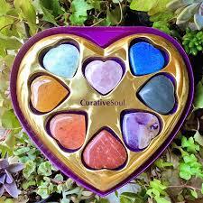 chakra stone heart valentine gift set