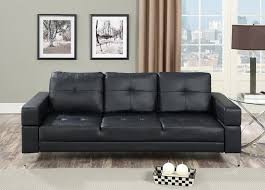 f6830 nathaniel iii collection black faux leather upholstered futon sofa bed with arms