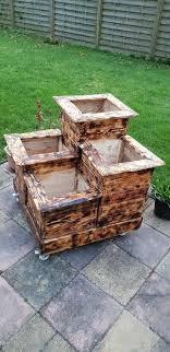 4 tier wooden planting pots