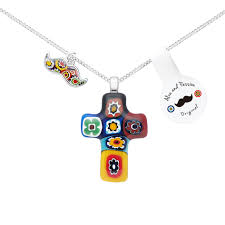 multicolors cross pendant necklace for men women
