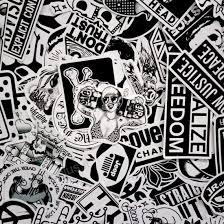 60 Pcs Casuale In Bianco E Nero Adesivo Graffiti Punk Jdm Fresco