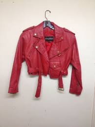 vtg 80 s wilson cherry red leather cropped biker motorcycle jacket sz xs