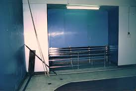 after spectator area adapted from three changing cubicles in the 1965 refurbishment as seen in 1984 bristol centre photographic archives