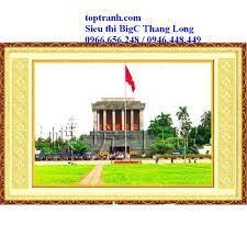 tranh thêu chữ thập Lăng chủ tịch Hồ Chí Minh 222065 (chưa thêu), phong  cảnh Hà Nội Lăng Bác Hồ tại Hà Nội