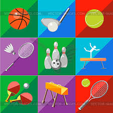 Two Tone Icons Set Icons Sports Equipment On Two Tone Background Vector Clipart