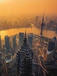 shanghai cityscape sunset android wallpaper