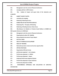 list of mba project topics reports listing of securities 12
