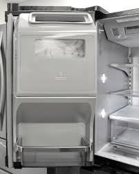the kitchenaid krmf706ebs s left fridge door houses a substantial ice maker that can hold plenty of