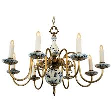 blue and white delft chandelier circa 1940 for