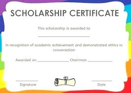 Scholarship Certificate Template For Word High School Scholarship Application Template Blank Templates