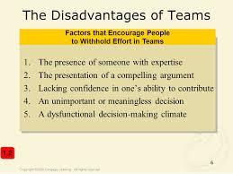 Disadvantages Of Teamwork Team Dynamics Disadvantages Essay Example