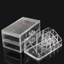uk clear acrylic 2 drawer stand display make up cosmetic organizer box case
