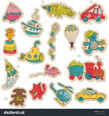 Sticker Design For Scrapbook Baby Toys Stickers Design Scrapbook Vector Stock Vector
