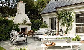 white stone outdoor fireplace