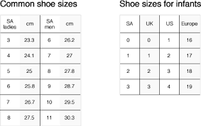Doen Size Chart Shoe City Shoe Guide