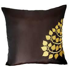 thai silk throw pillow cover lotus design black  tropicazona