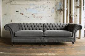 grey velvet chesterfield sofa. Perfect Velvet Image Is Loading LARGEHANDMADESPLIT4SEATERSLATEGREYVELVET Intended Grey Velvet Chesterfield Sofa E