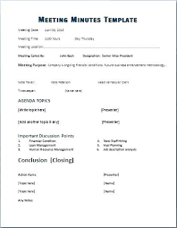 Formal Meeting Minutes Template Office Agenda Company Format Word