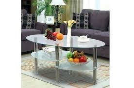 3 tier modern living room oval glass coffee table round side end tables with black chrome