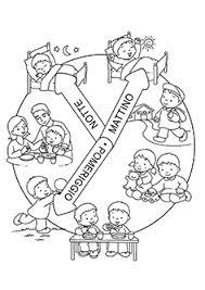 Lorologio Della Giornata Da Colorare Per La Scuola Dinfanzia Le