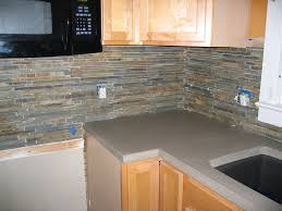 brown slate backsplash tile