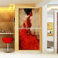 Paintings In Living Room Elegant Women Painting Art Red Dress Women Wall Decoration