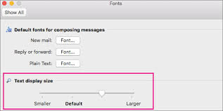 how to change text size change the font size in outlook for mac outlook for mac