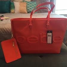 COACH - Mixed Leather Prairie Satchel Coach Embossed Bowknot Signature  Medium Yellow Totes DDS NWT Bebe Madison Large Embossed Tote Coral Rose ...