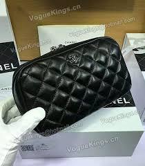 replica chanel black sheepskin leather fashion lady cosmetic bag